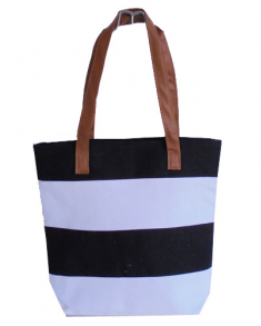 Bag - Canvas Navy and White Tote