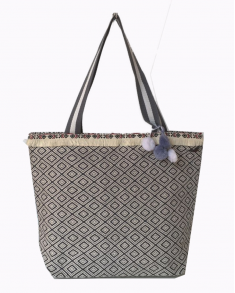 Bag - Linen Grey Aztec withn Pom Poms
