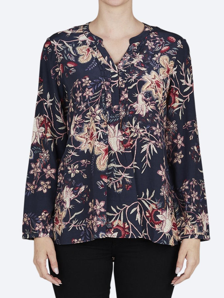 Top - Tapestry Floral Pintuck Shirt by JUMP