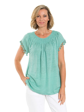 Top - Tassel Trim Gypsy in Seaspray