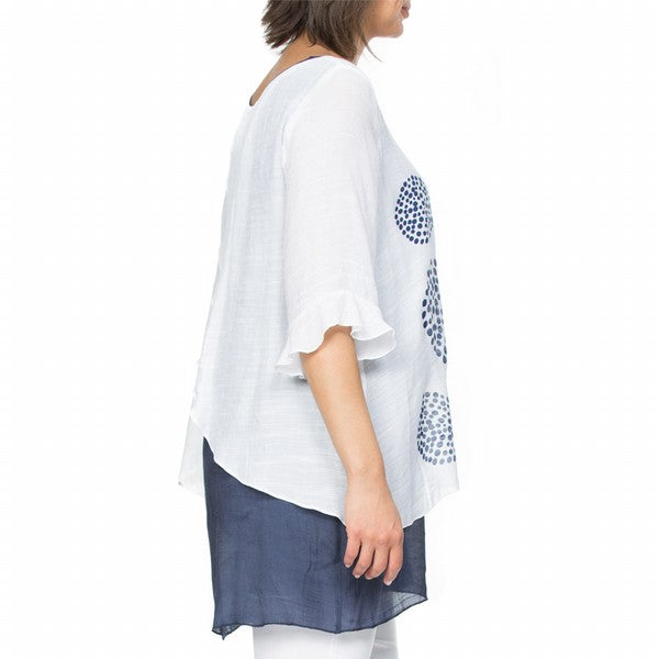 Top - Layered Print Navy/White by Clarity