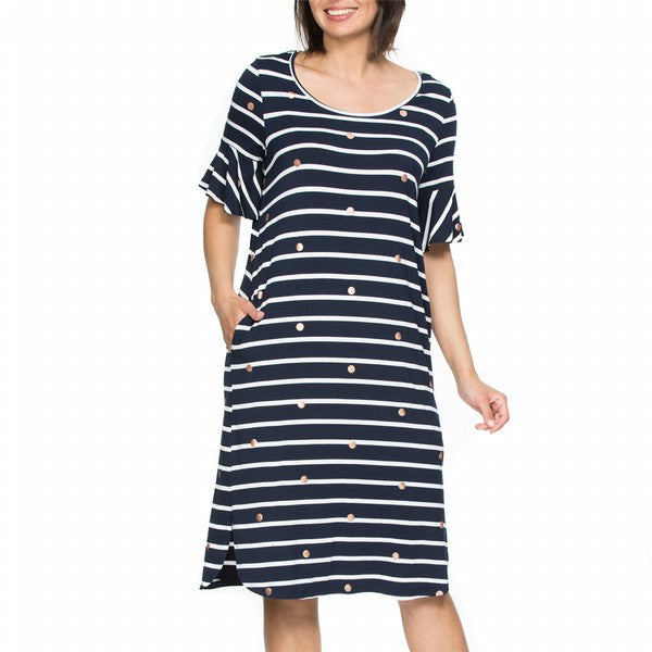 Dress - Stripe Summer Navy/White by THREADZ
