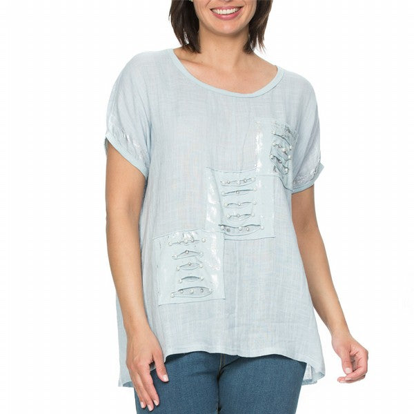 Top - Leaf Applique Print by THREADZ