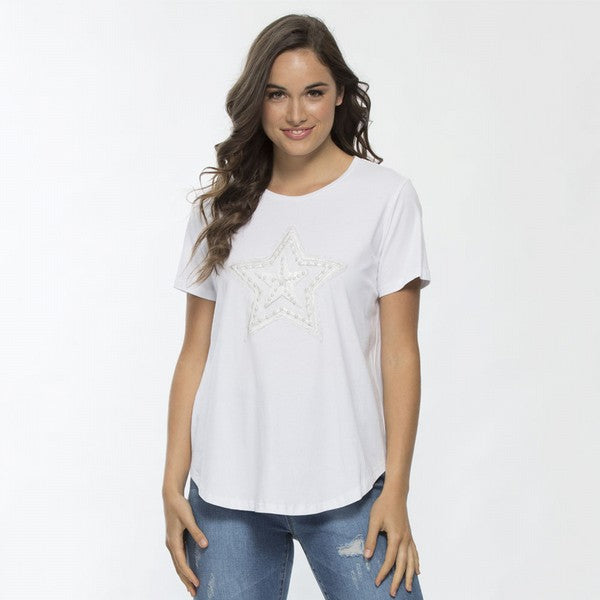 Top - Sequin & Bead Detail Tee by Threadz