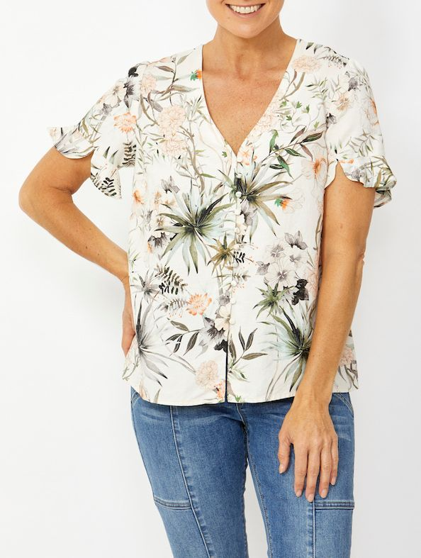 Top - Button Front Botanical Floral Linen Blouse by PingPong