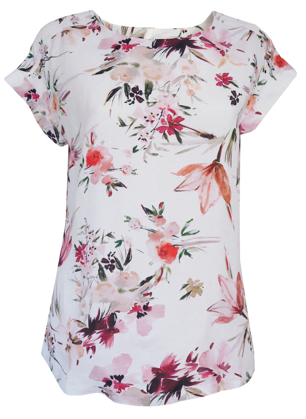 Top - Watercolour Floral Print Linen by JUMP
