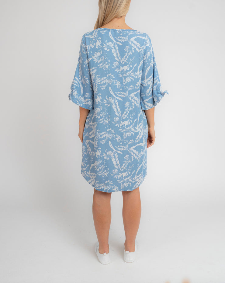 Dress - Tie Cuff Tropic Print by JUMP