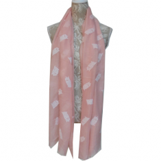 Scarf - Light pink with Owls