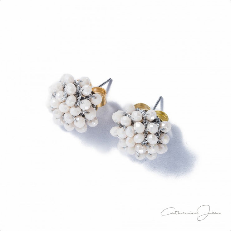Earrings - Stud Bead White