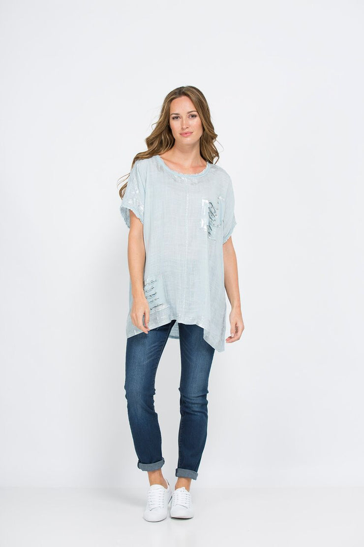 Top - Linen in Blue by Threadz