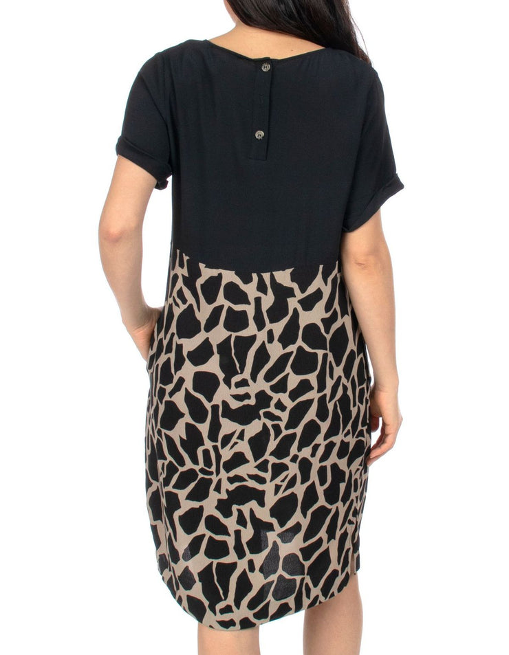 Dress - Spliced Giraffe Print by PingPong