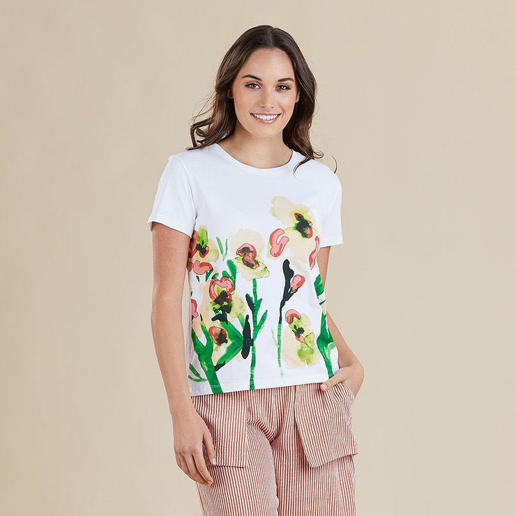 Top - Flower Print Tee by Threadz