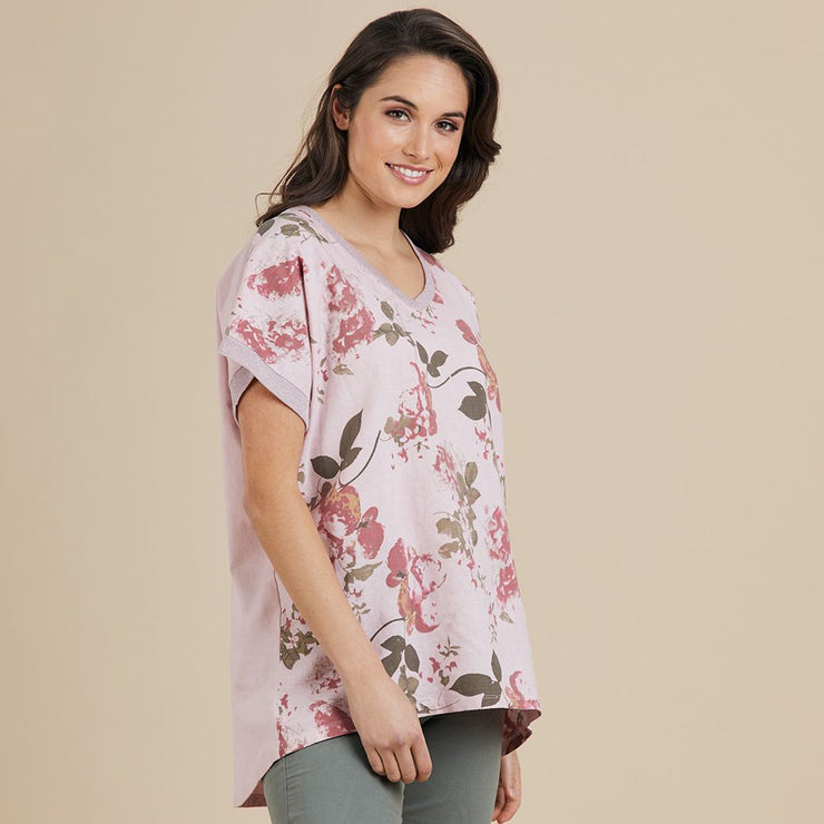 Top - Pink Floral V Neck by Threadz