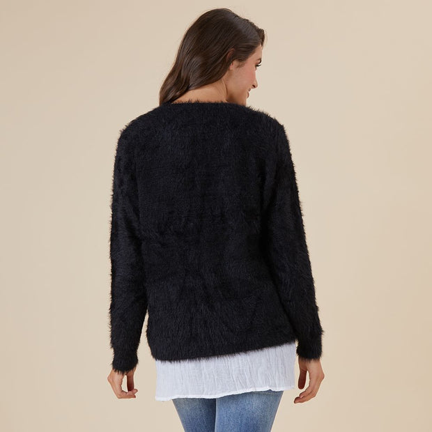 Jumper - Faux Fur Black by Threadz