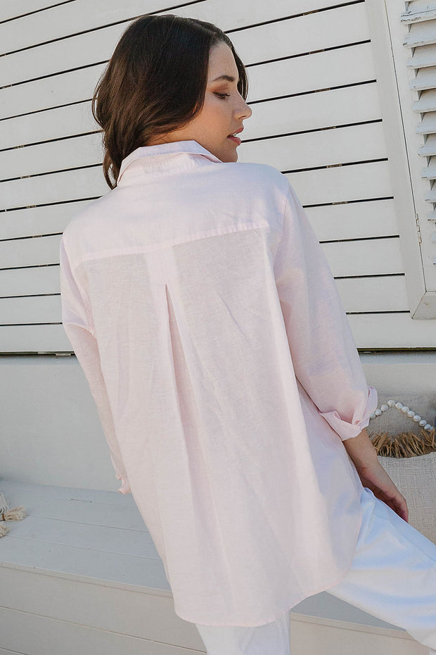 Top - Angelica Pale Pink 100% Cotton Shirt