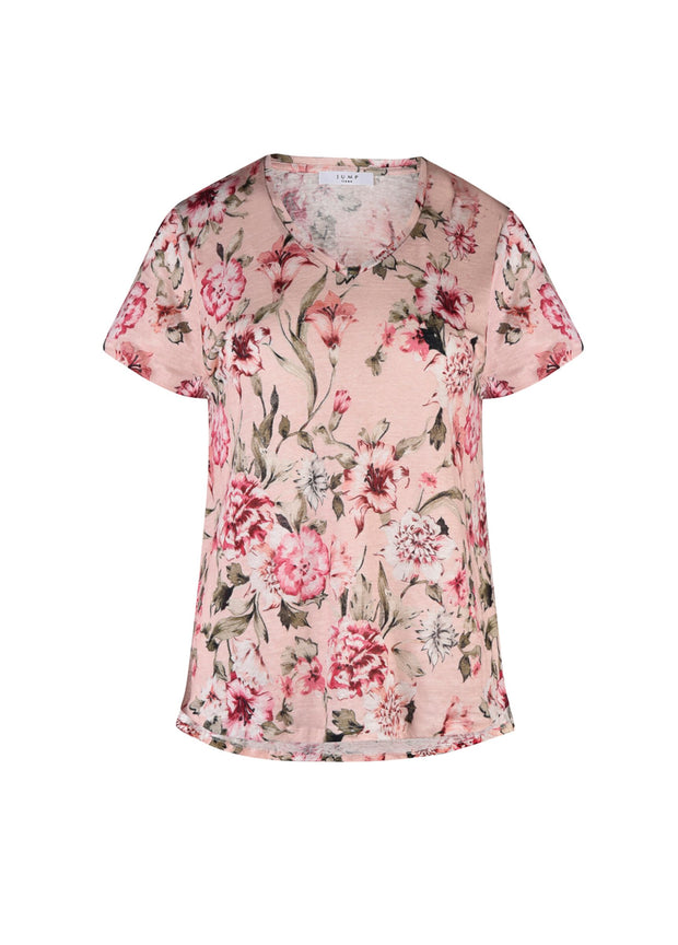 Top - Blush Floral Linen Tee by JUMP