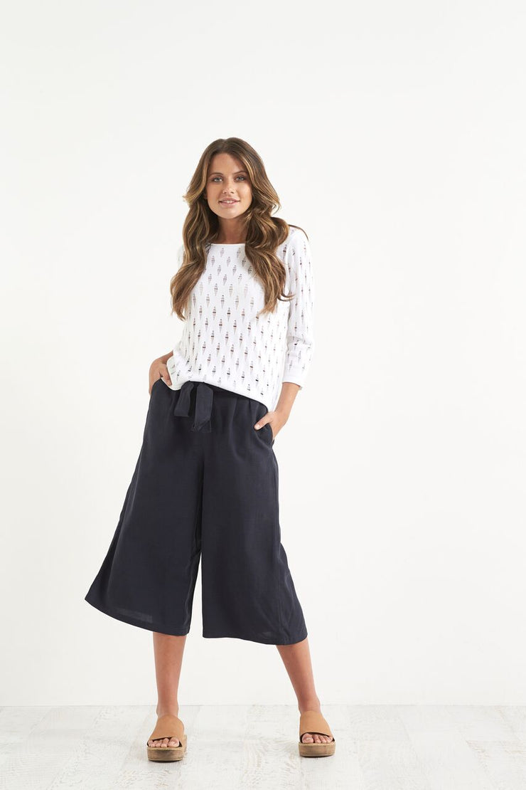 Pant -  Linen Lyo Lin Tie Front Flare by JUMP