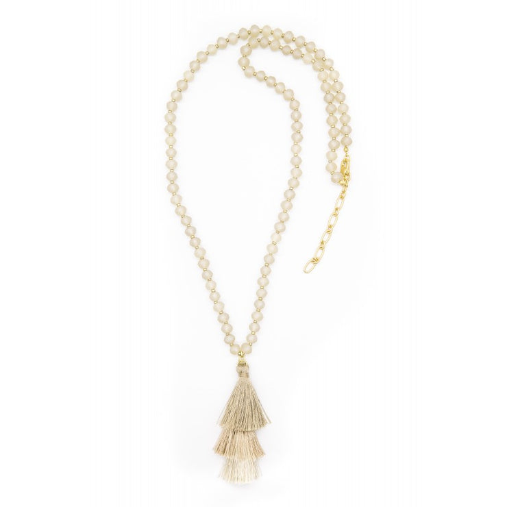 Necklace - Giovanna Glass Beaded Tassel