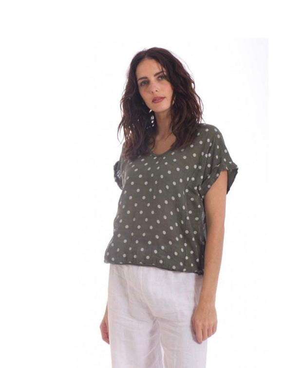 Top - A Cute Tiny Spot Italian Linen Tee