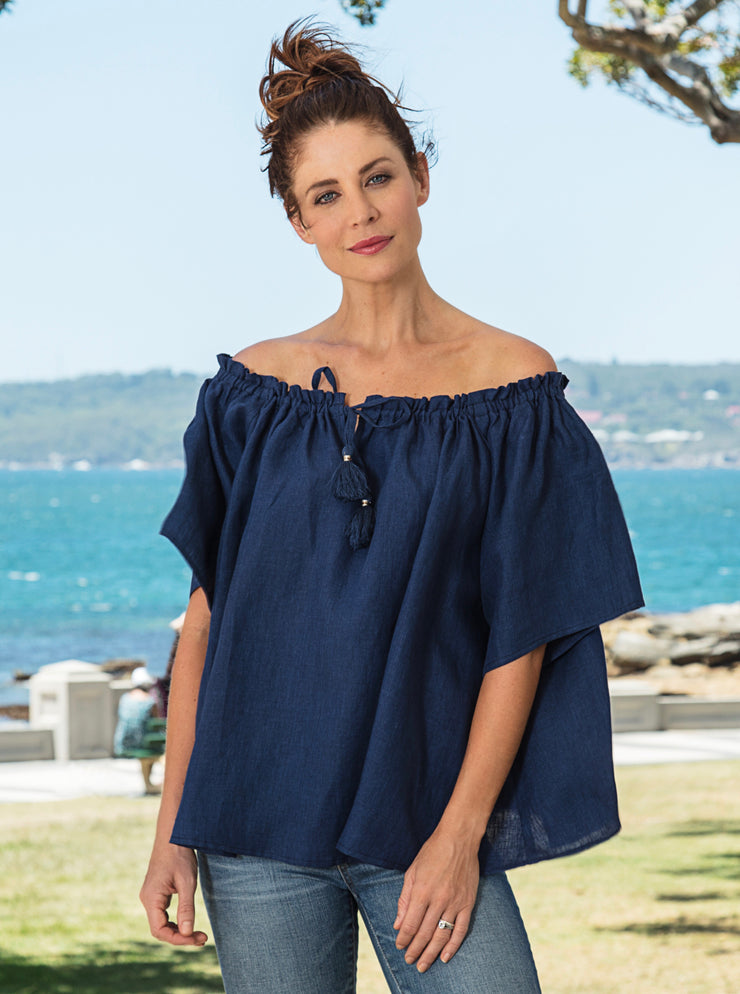 Top - Peasant 100% Linen in Denim by SEE SAW
