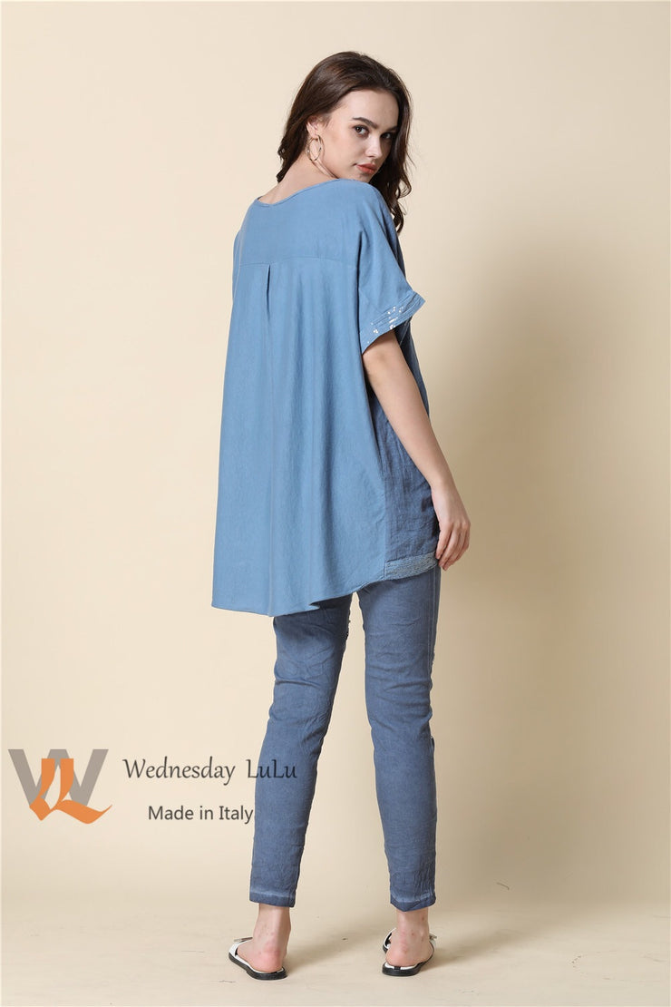 Top - Italian Linen/Cotton Bling Hem SS-9170