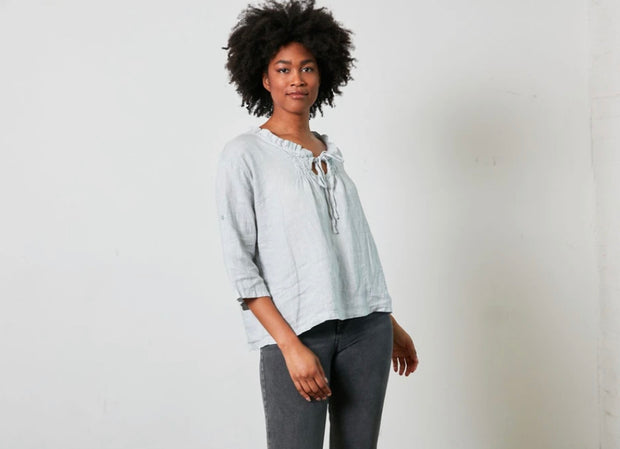Top - Montaine Linen Blouse with Front Shirring