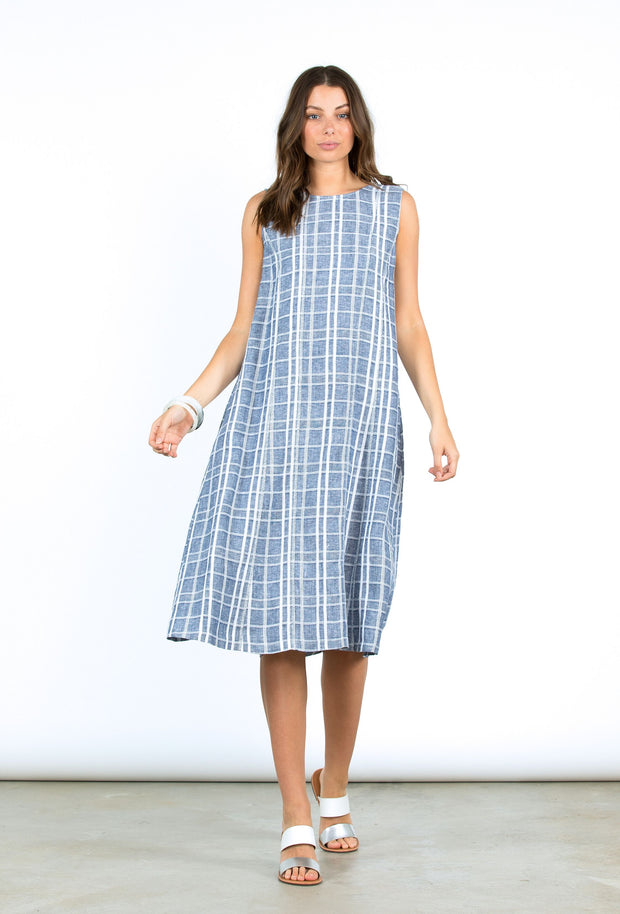 Dress - S/L Check Linen by Yarra Trail