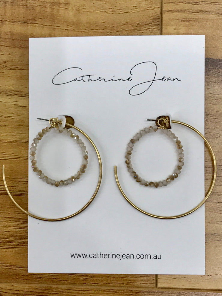 Earring - Sofia Double Hoop Beaded Gold