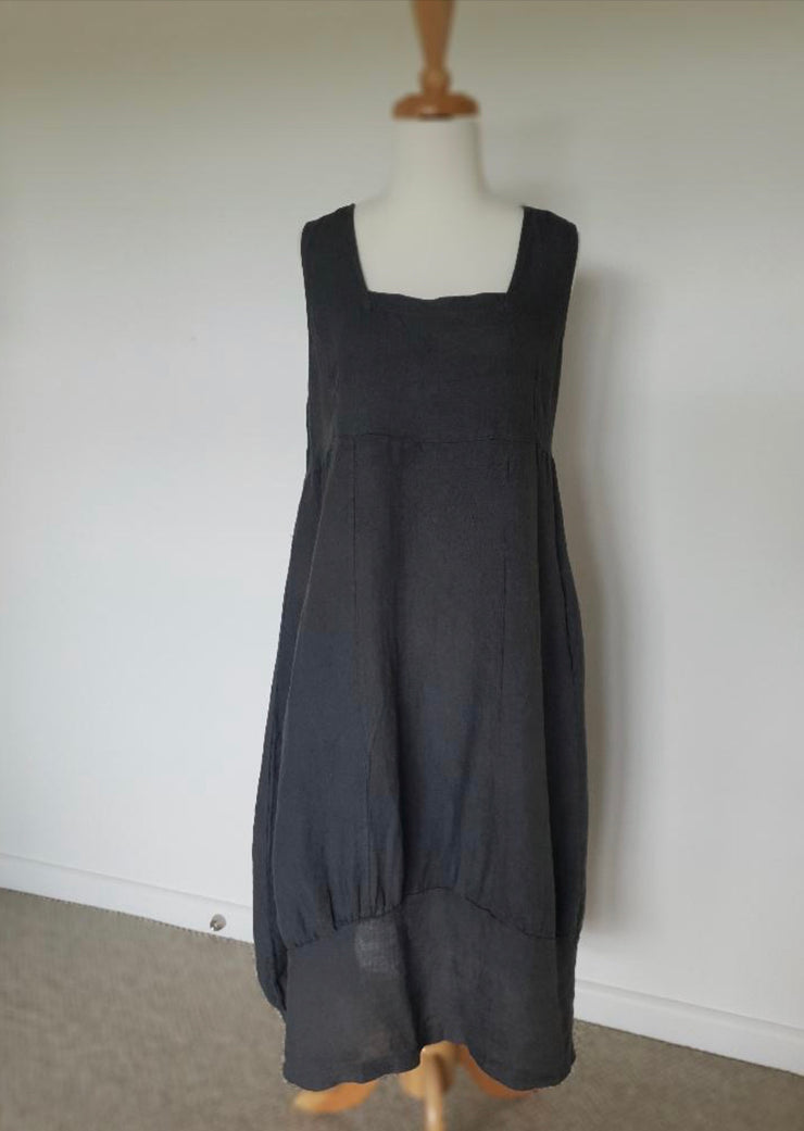 Dress - Montaigne Italian Linen Pinafore with Side Pockets