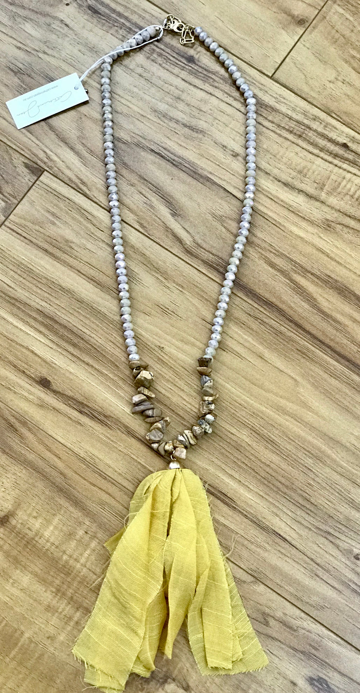 Necklace - Mustard Fringe Beaded