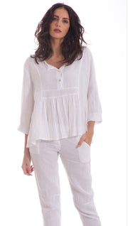 Top - Italian Linen Embroidered Neckline Swing