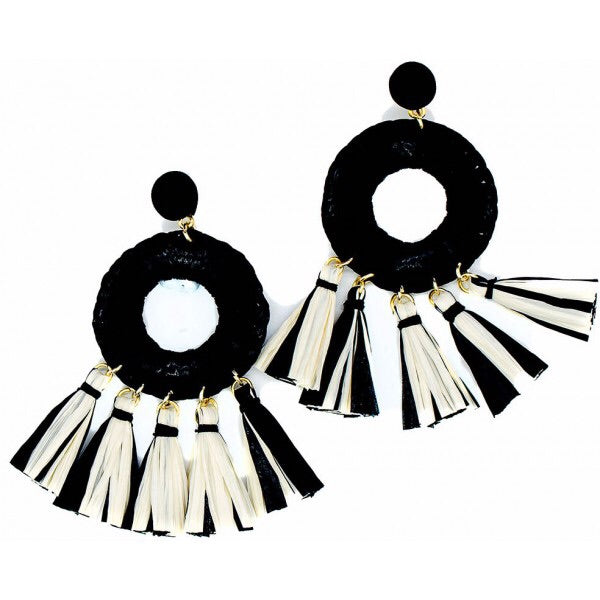 Earrings - Mia Straw Tassel