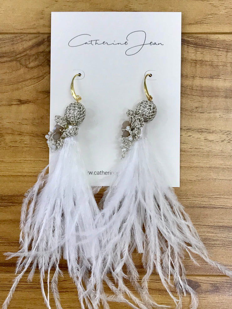 Earrings - Brides Feather Crochet