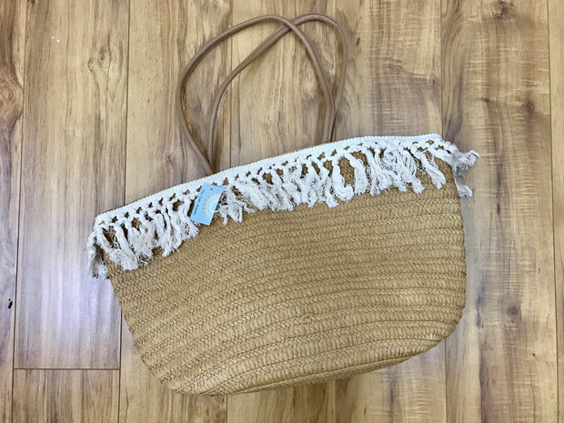 Bag - Fringe detail Beach Bag with Zipper