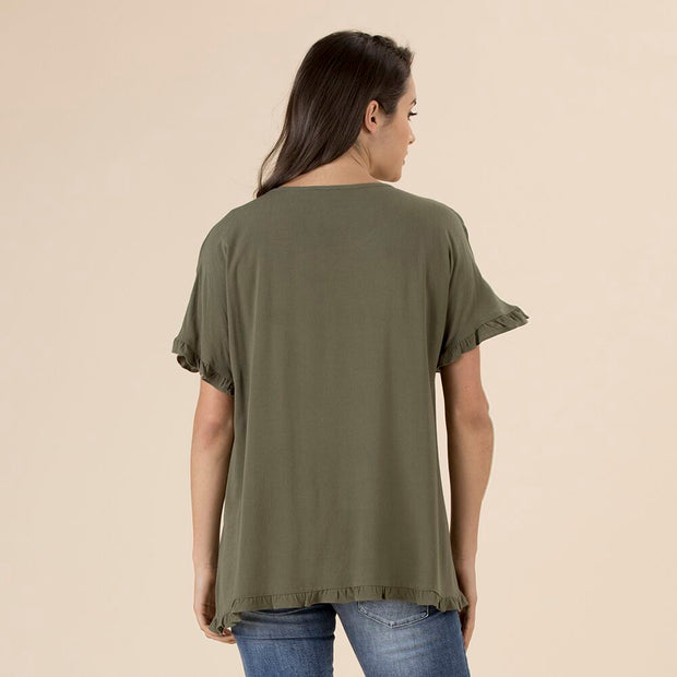 Top - Frilled Hem by Threadz Khaki