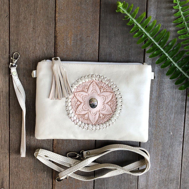 Bag - Hand Tooled Flower & Stone Leather Clutch