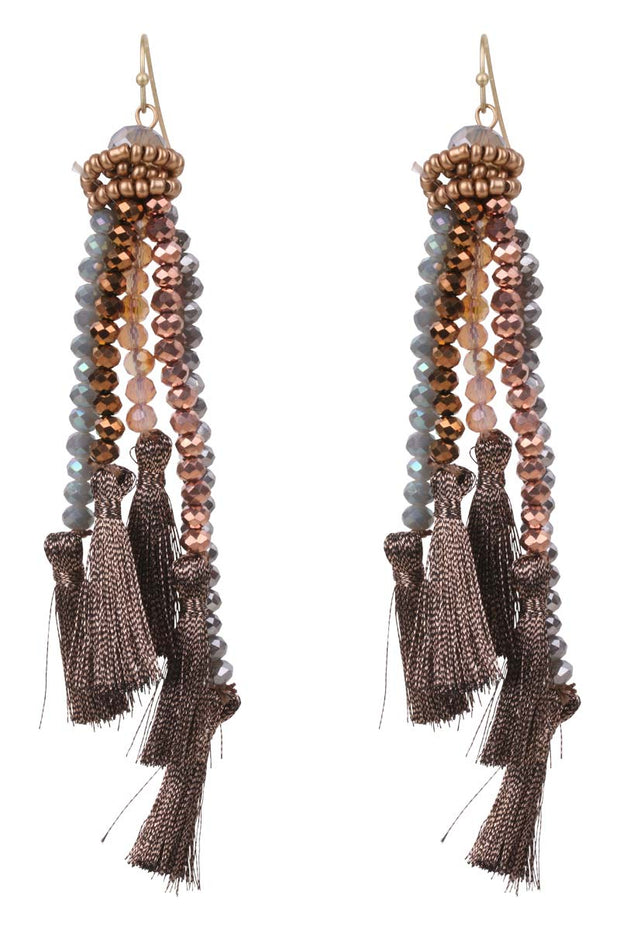 Earring - Qatar Tassel in Bronze