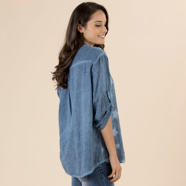 Top - Denim Star Shirt by Threadz