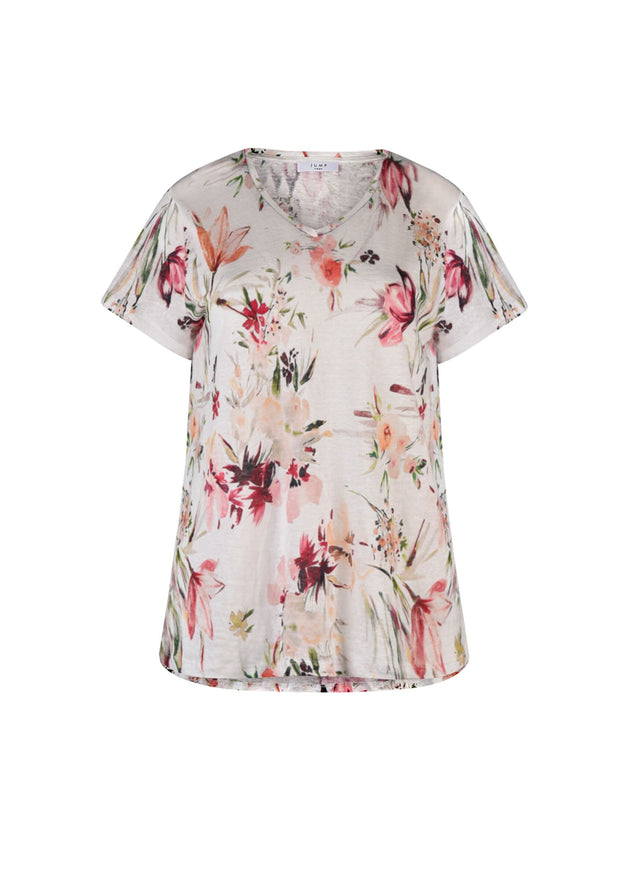 Top - Watercolour Floral Linen Tee by JUMP
