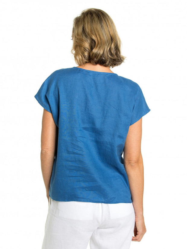 Top - Bermuda Blue 100% Linen