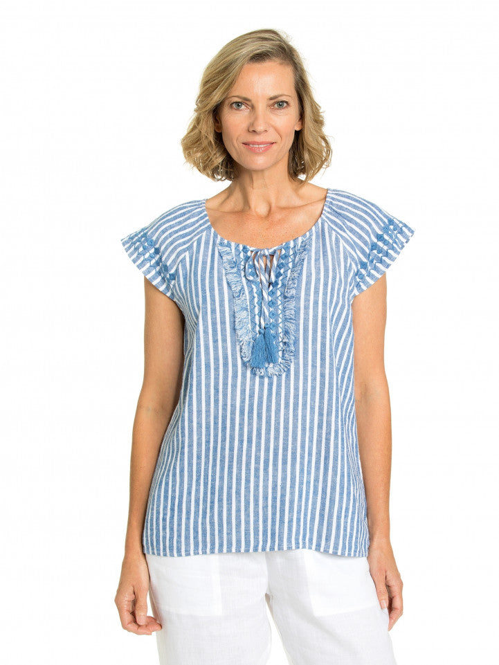 Top - Bermuda Blue/White Embroidered