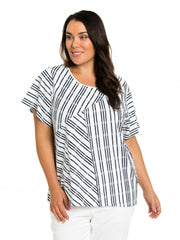 Top - Stripe Puzzle Print Tee by Yarra Trail