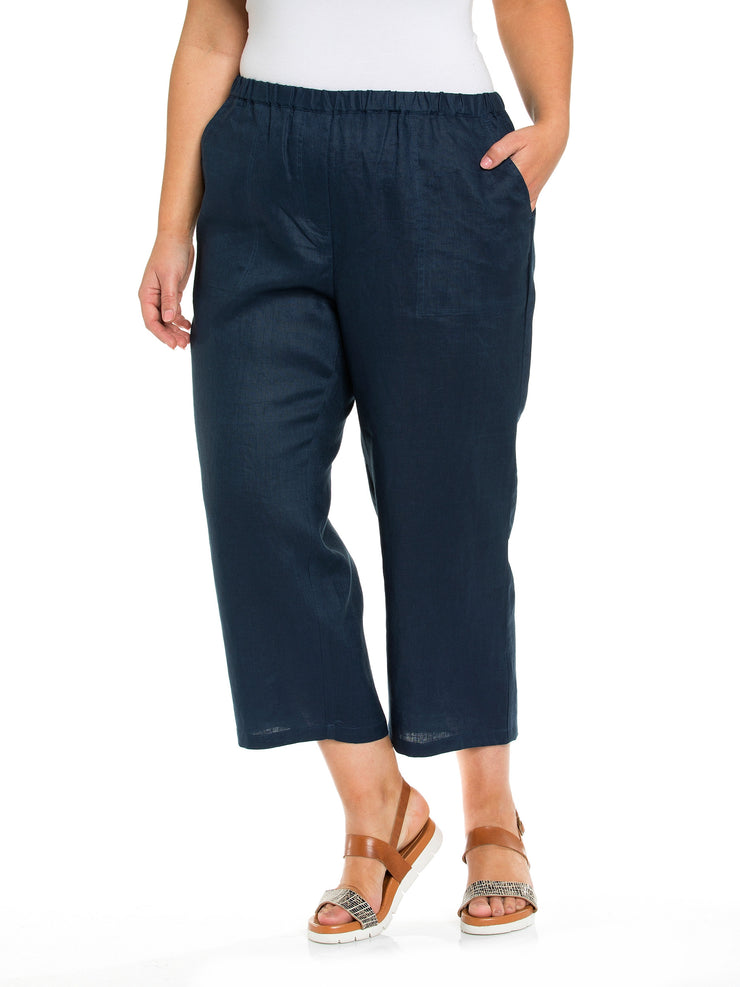 Pant - Washer 100% Linen Navy