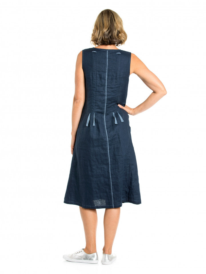 Dress - S/L/ Drawcord 100% Linen by Yarra Trail