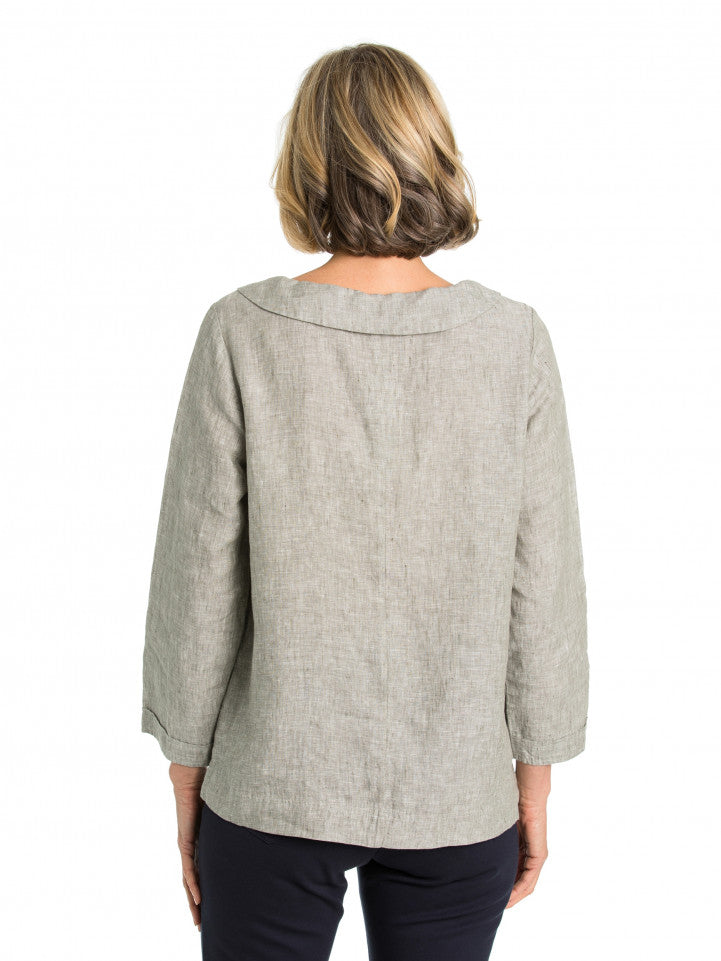 Top - Crossdye Panelled Blouse by Yarra Trail