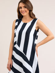 Dress - S/L Navy/White Linen by Yarra Trail