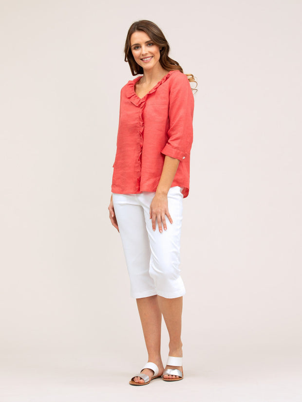 Top - Ruffle Linen by Yarra Trai