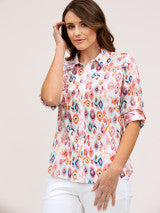 Top - Harlequin Print Cotton Shirt