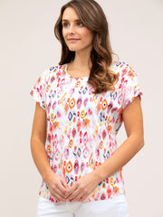 Top - Harlequin Print Cotton Tee
