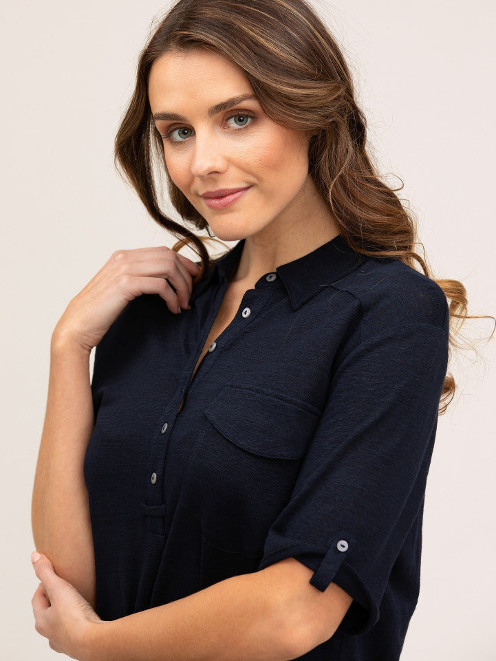 Top - Navy Slouchy Linen Polo Shirt